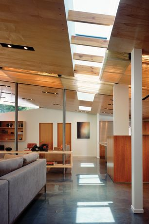 Contemporary Hallway with Skylight, flat door, can lights, Exposed beam, Columns, simple granite floors, High ceiling
