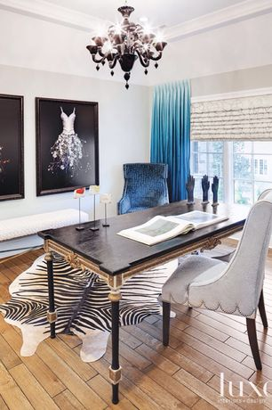 Eclectic Home Office with Standard height, can lights, Hardwood floors, Casement, Chandelier, Crown molding