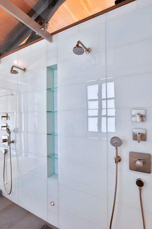 Contemporary Master Bathroom with Shower, stone tile floors, Exposed beam, Casement, Handheld showerhead, Standard height