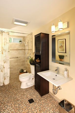 Contemporary 3/4 Bathroom with Handheld showerhead, flush light, ceramic tile floors, Wall mounted sink