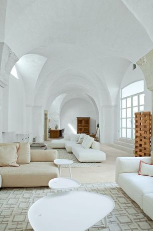Contemporary Living Room with Carpet, Transom window, Sunken living room, High ceiling, French doors, Arched window
