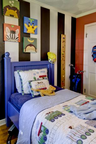 Traditional Kids Bedroom with Hardwood floors, Crown molding