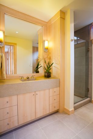 Contemporary 3/4 Bathroom with Undermount sink, Flush, Limestone counters, frameless showerdoor, can lights, Shower