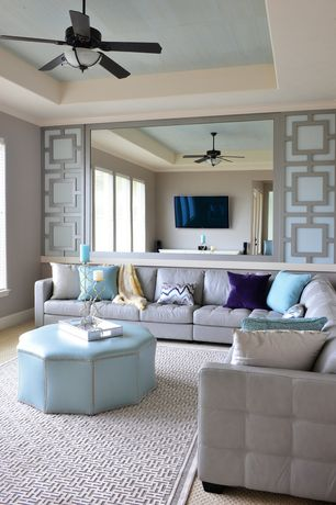 Modern Living Room with Carpet, Penelope pewter light grey area rug, Dreamwalls 42-in x 72-in Polished Edge Wall Mirror