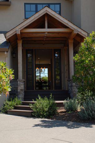 Craftsman Front Door with Pathway, exterior tile floors, French doors