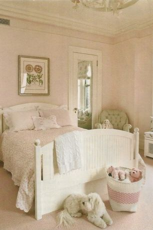 Traditional Kids Bedroom with French doors, no bedroom feature, Chandelier, Carpet, Standard height, Crown molding