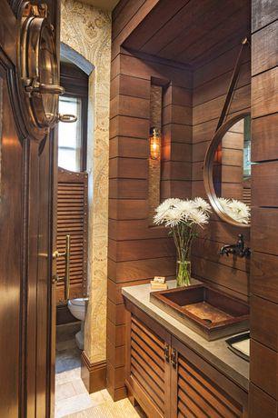 Contemporary Powder Room with REEDLEY RECTANGULAR TEAK VESSEL SINK, Built-in bookshelf, Wall sconce, specialty door