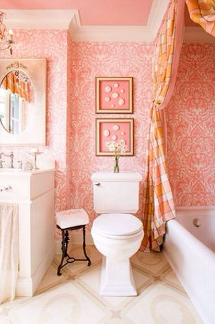 Traditional Full Bathroom with Full Bath, Limestone, shower bath combo, Standard height, Undermount sink, Limestone counters