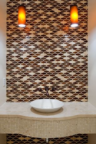 Contemporary Powder Room with Vessel sink, Standard height, Ceramic Tile, Pendant light, Powder room, full backsplash