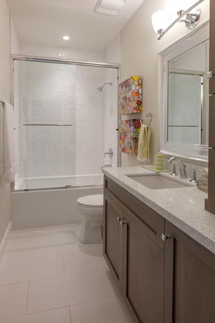 Contemporary Full Bathroom with Full Bath, Simple granite counters, Flush, partial backsplash, Vinyl floors, Standard height