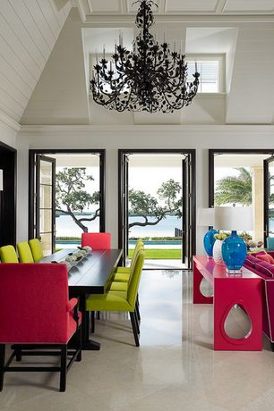 Contemporary Dining Room with Chandelier, Box ceiling, French doors, Russhelle 12-light black chandelier, High ceiling
