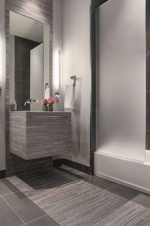 Modern Full Bathroom with Pental studio porcelain tile - silver matte, Porcelain tile, tiled wall showerbath, Wall sconce