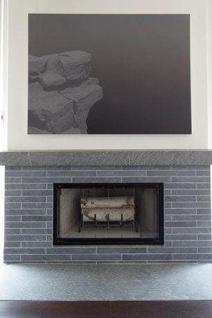 Contemporary Living Room with Daltile Slimlite Porcelain Panels Rock TP44, Pearl Mantels Cast Stone Fireplace Mantel Shelf