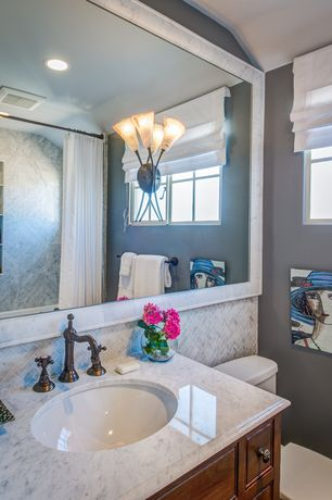 Traditional Full Bathroom with Built in shower storage, Oil rubbed bronze double handle widespread bathroom faucet
