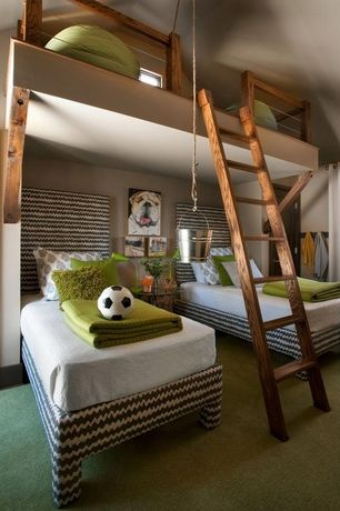Contemporary Kids Bedroom with Bunk loft bed, Martha stewart living oxford hill i - color pumpkin seed, Bunk beds, Carpet