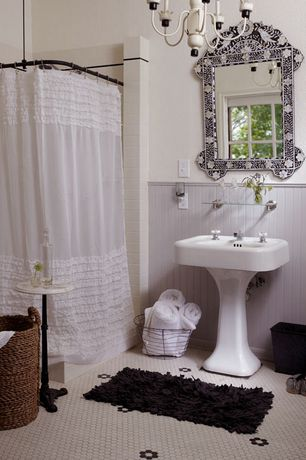Cottage Full Bathroom with Creative Bath - Ruffles Shower Curtain, Chandelier, Wire basket, Rain shower, penny tile floors