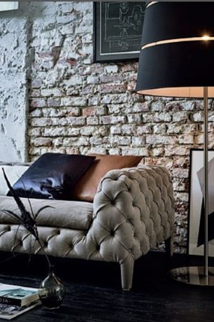 Contemporary Living Room with 7' soho tufted upholstered sofa, Hardwood floors, interior brick