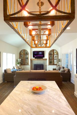 Contemporary Living Room with Standard height, Built-in bookshelf, Fireplace, Casement, can lights, insert fireplace