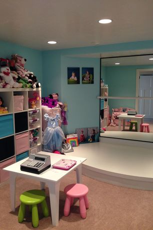 Contemporary Playroom with Carpet, Art desk, French doors
