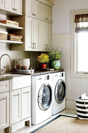 "Cottage Laundry Room with Hardwood floors, Bosch 24"" Compact Washer Axxis? Plus - White, Farmhouse sink, Wainscotting"