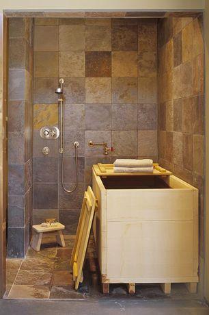 Asian Master Bathroom with Shower, three quarter bath, Standard height, Handheld showerhead, no showerdoor, stone tile floors