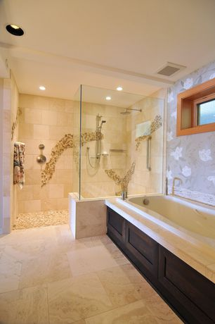 Contemporary Master Bathroom with Master bathroom, Handheld showerhead, MasterShower Hotel handshower kit, Rain shower