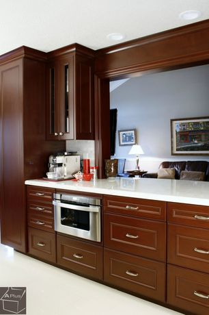 Modern Kitchen with Inset cabinets, One-wall, Dura Supreme Cabinetry Middleton, Pentalquartz super white honed bq200h