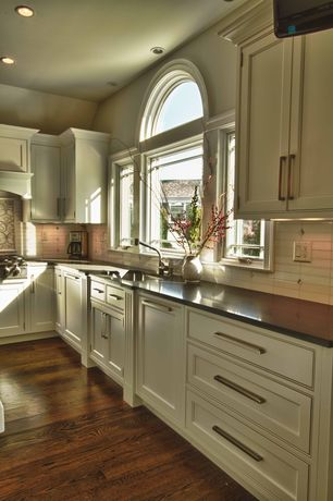 Traditional Kitchen with High ceiling, Acacia - Woodland Twig 4.72 in. Engineered Hardwood Plank, Flat panel cabinets
