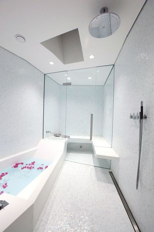 Contemporary Master Bathroom with Steam shower, Mosaic tile, Axor starck organic porter with handshower, Master bathroom