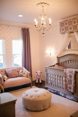 Traditional Kids Bedroom with Standard height, York wallcoverings trellis wallpaper, Area rug, Canopy cornice, can lights