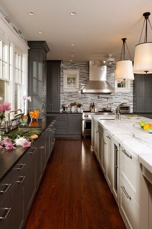 Contemporary Kitchen with L-shaped, Ceiling fan, European Cabinets, Arizona Tile Bianco Venatino Marble Slab, Pendant light