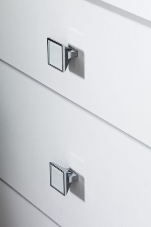 "Contemporary Closet with Hafele 131.14.271 polished chrome / white 4"" width cabinet square knob, Paint 1"