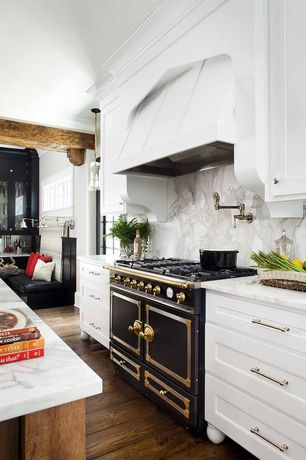 Contemporary Kitchen with Kitchen island, Complex marble counters, Calacatta vagli, Custom hood, One-wall, Complex Marble