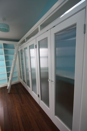 Contemporary Closet with Ribbed glass door