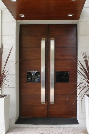 Contemporary Front Door with White poly-terrazzo tall flared square planter, Pathway, exterior tile floors