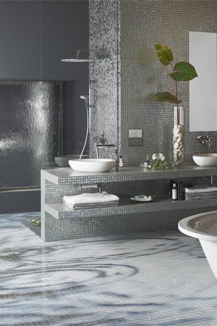 Contemporary Master Bathroom with Handheld showerhead, Ceramic Vessel Bathroom Sink, Daltile Glass Horizons Tide Mosaic Tile
