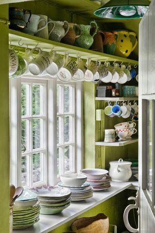 Country Kitchen with Pental Quartz Thassos, Way basics floating wall shelf, Casement window, Open shelving, Pendant light