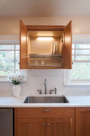 Transitional Kitchen with Flat panel cabinets, High ceiling, Simple marble counters, Aristokraft Benton Cabinets, One-wall