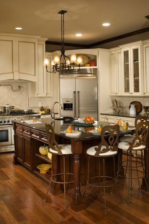 Traditional Kitchen with L-shaped, Simple granite counters, Ms International Coffee Brown Granite, High ceiling, Custom hood