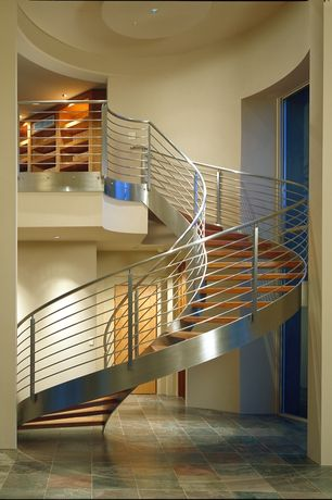 Contemporary Staircase with High ceiling, Loft, Spiral staircase, Concrete tile