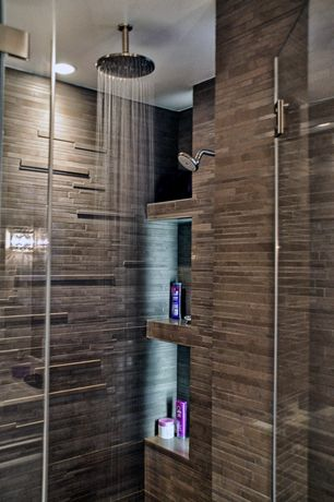 Contemporary Master Bathroom with Built in shelves, Rain shower, Porcelanosa Jersey Antarctica Ceramic Wall Tile