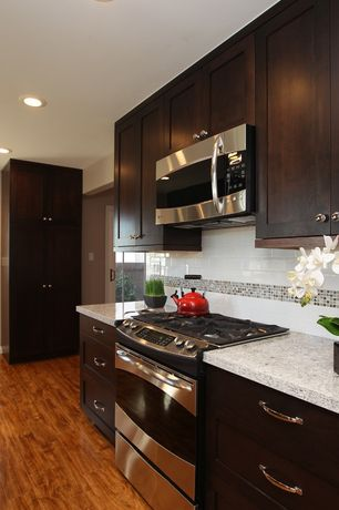 Modern Kitchen with Flat panel cabinets, Simple granite counters, One-wall, Flush, Ceramic Tile, Subway Tile