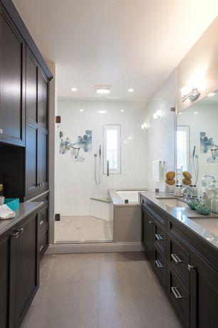 Contemporary Master Bathroom with Shower, Master bathroom, Bathtub, Corian counters, Handheld showerhead, Flush, flush light