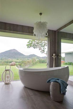 Contemporary Master Bathroom with Master bathroom, slate tile floors, Chandelier, Pental - Meteor Porcelain Tile Collection