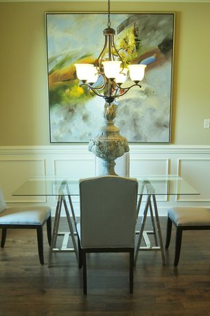 Contemporary Dining Room with Wainscotting, Maxim 11805ICBK Black Linda 5 Light 1 Tier Chandelier with Ice Shade, Chandelier