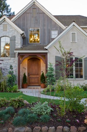 Country Front Door with exterior stone floors, Pathway