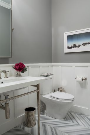 Contemporary Powder Room with Powder room, Kraftware mylar waste basket, Crown molding, Wainscotting, Console sink