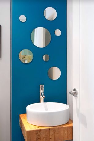 Contemporary Powder Room with Paint 1, Vessel sink, Wood counters, nexxt Design Zoe 7 Piece Round Mirrors Set, Powder room