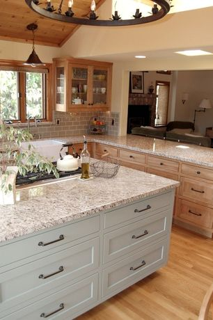 Country Kitchen with Pendant light, Chandelier, Inset cabinets, Kitchen island, Simple granite counters, L-shaped