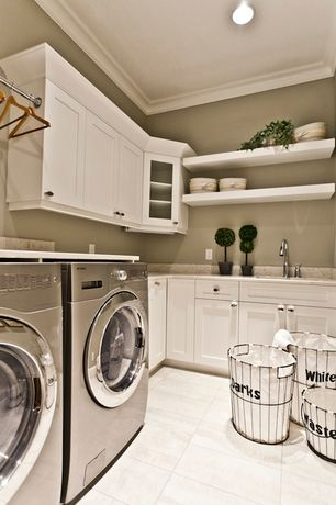 Traditional Laundry Room with LG Electric 2.3 Cu. Ft. 9-Cycle Washer and 7-Cycle Dryer, Built-in bookshelf, Open shelving